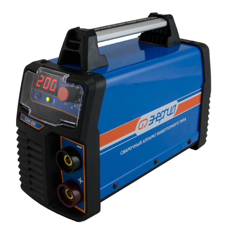 Сварочный аппарат Энергия САИ-200 (инверторный)Сварочные аппараты<br>Сварочный аппарат «Энергия САИ-200» - устройство инверторного типа, которое предназначается для ручной дуговой сварки электродами различных типов и марок диаметром 1,6–4,0 мм на постоянном токе. Данный агрегат отлично подойдет для выполнения ремонта в дом...<br>Cтрана производства: Россия; Гарантия: 12 месяцев; Габаритные размеры (мм): 340х125х240; Вес (кг): 5,5; Вес брутто (кг): 6;