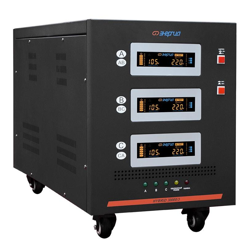 Стабилизатор напряжения Энергия Hybrid 30000/3 II поколениеСтабилизаторы<br>Тип напряжения:Трехфазный; <br>Принцип стабилизации:Гибрид, Сервоприводный; <br>Мощность (кВА):30; <br>Способ установки:Напольный;<br>Cтрана производства: Россия; Гарантия: 12 месяцев; Расчетный срок службы: 10 лет; Габаритные размеры (мм): 700x350x500; Вес (кг): 84; Вес брутто (кг): 105;