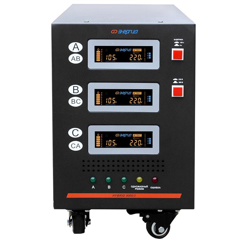 Стабилизатор напряжения Энергия Hybrid 9000/3 II поколениеСтабилизаторы<br>Тип напряжения:Трехфазный; <br>Принцип стабилизации:Гибрид, Сервоприводный; <br>Мощность (кВА):9; <br>Способ установки:Напольный;<br>Cтрана производства: Россия; Гарантия: 12 месяцев; Расчетный срок службы: 10 лет; Габаритные размеры (мм): 545x230x380; Вес (кг): 39; Вес брутто (кг): 48;